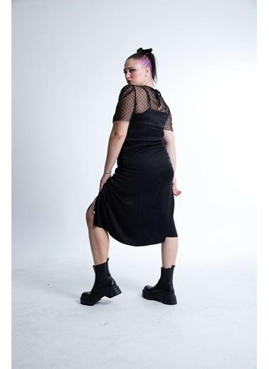 Luokk Stella Leopar Desenli V Yakalı Elbise Siyah